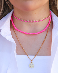 Colar duplo miçangas pink neon smiley