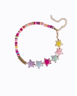 Choker disco fimo colorido estrelas brilho