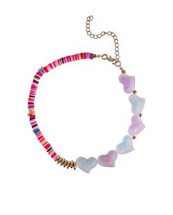 Choker disco fimo colorido corações fosco azul, rosa e lilás