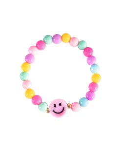 Pulseira candy color smiley rosa