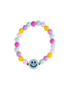 Pulseira candy color smiley azul