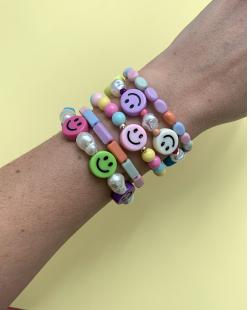 Kit pulseiras miçangas candy colors