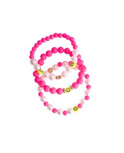 Kit pulseiras miçangas e pérolas smiley pink neon