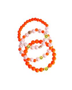 Kit pulseiras miçangas e pérolas smiley laranja neon