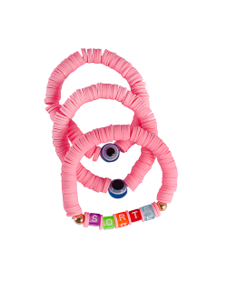 Kit pulseiras disco fimo sorte rosa
