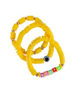 Kit pulseiras disco fimo verão amarela