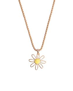 Colar corrente dourado pingente flor daisy