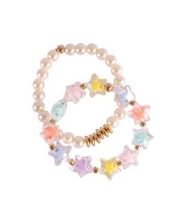 Kit pulseiras pérola e estrelas candy