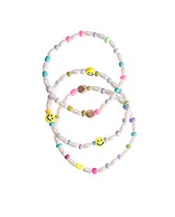 Mix de pulseiras pérolas e miçangas coloridas smiley