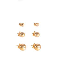 Kit 3 pares de brincos dourado bolinhas