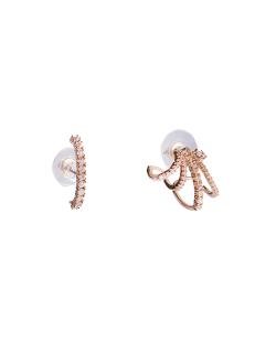 Ear Cuff e EarHook folheado dourado cravejado Calla Lily