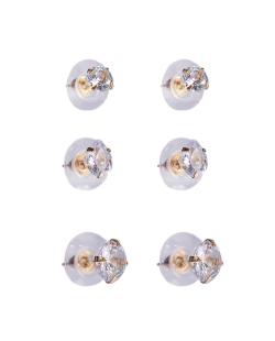 Kit 3 pares de brinco dourado zircônias cristal Tulipa