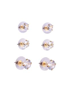 Kit 3 pares de brinco dourado zircônias cristal Irís