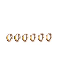 Kit 3 pares de brinco dourado argola Antúrio
