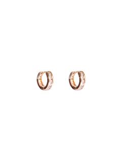 Argola dourada pequena zircônias cristal Hibisco