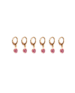 Kit 3 pares de brinco folheado dourado zircônias rosa Cravo