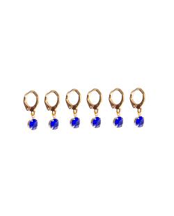Kit 3 pares de brinco folheado dourado zircônias azul Cravo