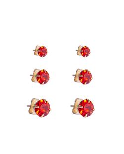Kit 3 pares de brinco folheado dourado zircônias vermelho Crisântemo