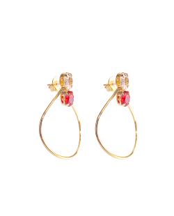 Brinco folheado dourado zircônias vermelho e cristal Cravina