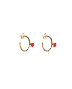 Argola folheada dourada zircônias vermelho Calêndula