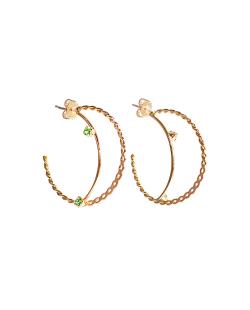 Argola folheada dourada zircônias verde Ciclame