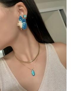 Conjunto colar e brinco zircônias Gota Calla azul