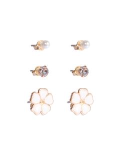 Kit 3 pares de brincos folheados flor esmaltada Beijo branco