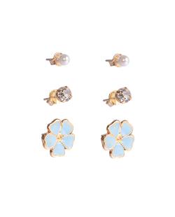 Kit 3 pares de brincos folheados flor esmaltada Beijo azul claro