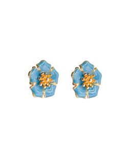 Brinco dourado flor esmaltada Alisso azul