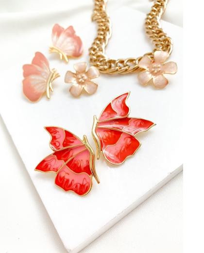 Brinco dourado borboleta esmaltada Perpétua vermelho