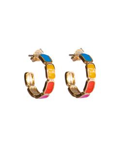 Argola dourada esmaltada colorida Peônia