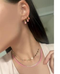 Choker dourada bolinhas esmaltadas rosa Flor