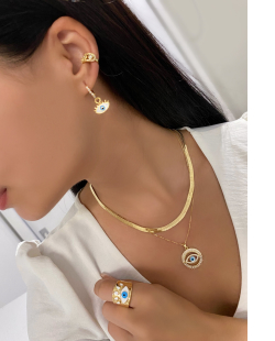 Anel MB Semi joia regulável dourado Olho Grego esmaltado