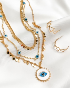 Colar MB Semi joia dourado Olho Grego esmaltado