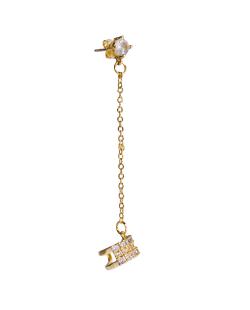 Brinco MB Semi joia dourado com Corrente e piercing zircônias