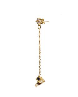 Brinco MB Semi joia dourado com Corrente e piercing zircônias e onix