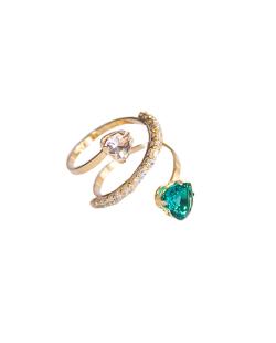 Anel MB Semi joia regulável dourado cravejado Zircônia Verde