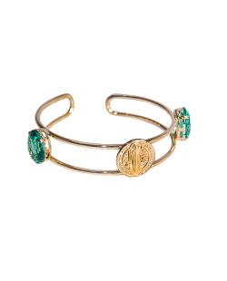 Bracelete MB Semi joia dourado medalha Zircônia Verde
