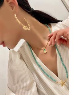 Colar MB Semi joia dourado pingente unico zircônia verde Estrela do Mar