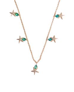 Colar MB Semi joia dourado pingentes zircônia verde Estrela do Mar