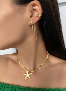 Colar MB Semi joia dourado corrente grumet pingente Estrela do Mar