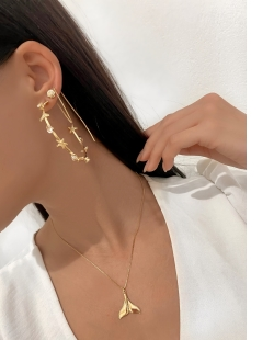 Brinco MB Semi joia dourado corrente Concha