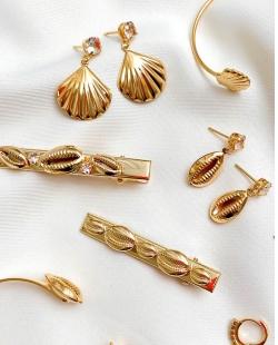 Grampo de Cabelo MB Semi joia dourado zircônias Búzios