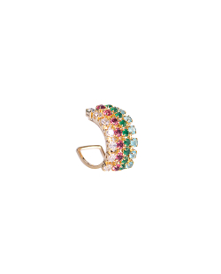 Piercing MB Semi joia dourado cravejado zircônias coloridas