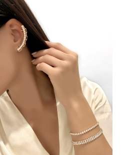 Ear Cuff MB Semi joia dourado cravejado zircônias cristal Elos