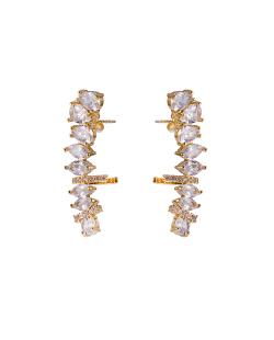 Ear Cuff MB Semi joia dourado cravejado zircônias cristal Gotas