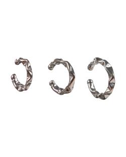 Kit 3 piercings fakes martelado prateado