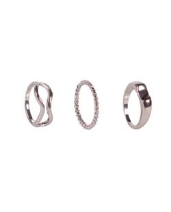 Kit 3 anéis trançados diferentes prateado