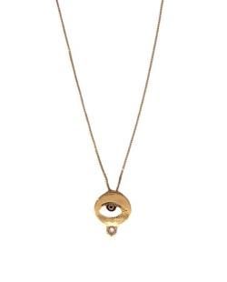 Colar dourado corrente pingente olho mistico