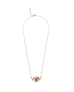 Conjunto colar e brinco zirconias lilás e coloridas olho mistico